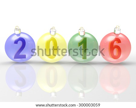 2016 New Year concept. Digits of the year in colorful glass Christmas balls on white background  - stock photo