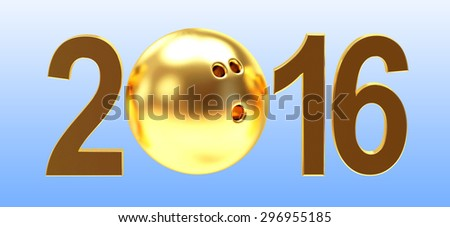 2016 New Year concept. Golden 2016 year and bowling ball on blue background - stock photo