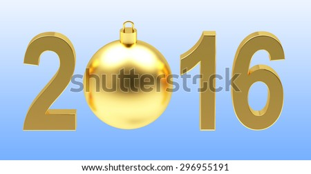 2016 New Year concept. Golden 2016 year and chrismas ball on blue background
