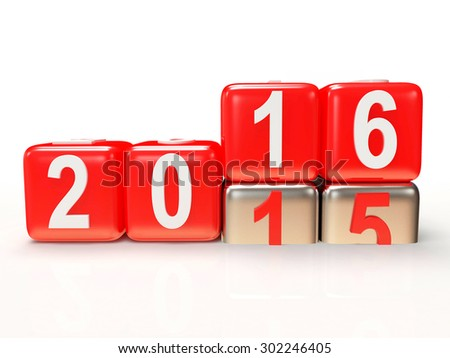 2016 New Year concept. Red cubes 2015 changing for 2016 isolated on white background - stock photo