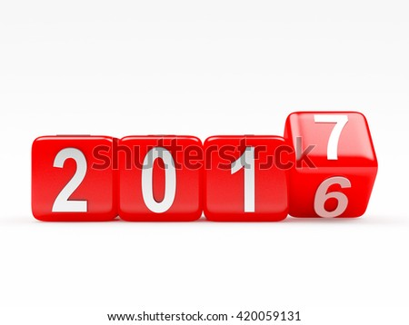 2017 New Year concept. Red cubes 2016 changing for 2017 isolated on white background - stock photo