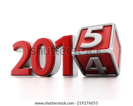 2015 new year concept with the cube changing form from 4 to 5. - stock photo