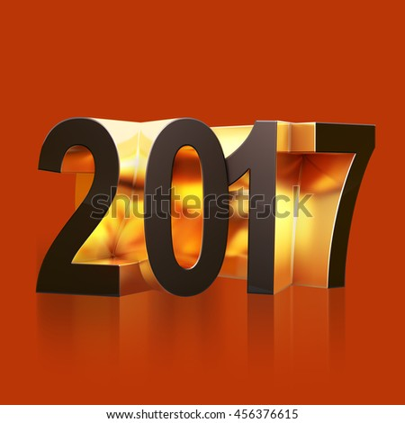 2017 New Year 3d black and gold numbers. Three-dimensional rendering illustration of 2017  new year