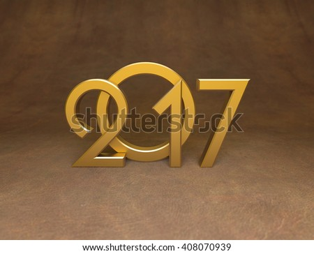 New Year 2017 - 3D Rendered Image  - stock photo