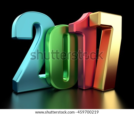 2017 new year 3d rendered image