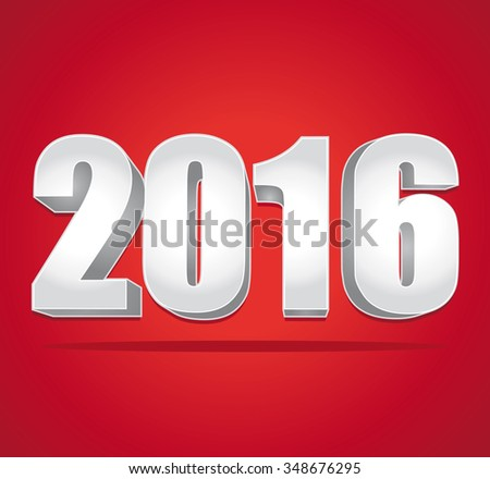 2016 New Year 3d silver numbers on a red background.