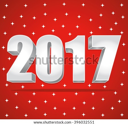 2017 New Year 3d silver numbers on a red starry background. - stock photo