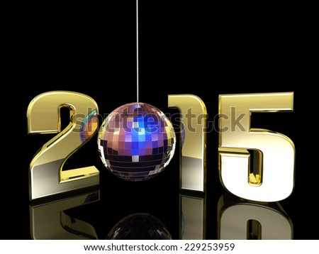 2015 New Year Disco Ball - Hanging New Year Disco Ball with reflections. Happy New Year. - stock photo