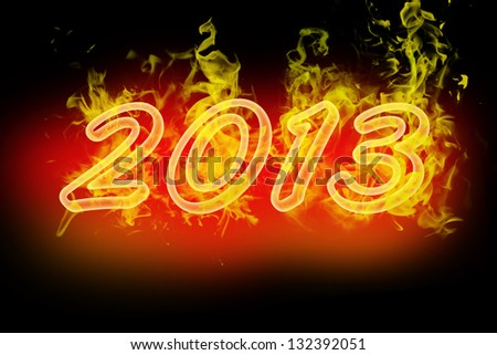 2013 new year fire numbers - stock photo