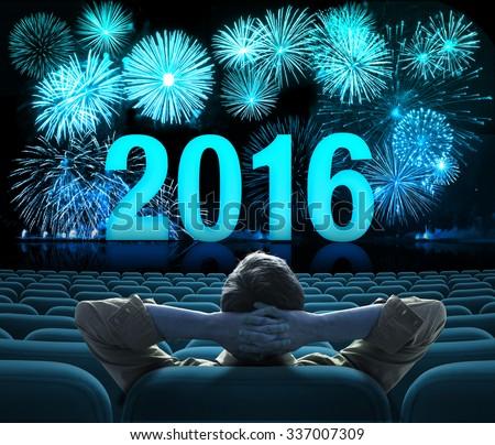 2016 new year fireworks on big cinema screen  - stock photo