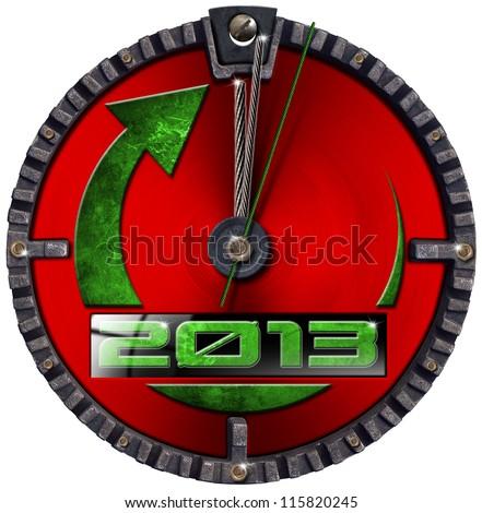 2013 New Year Grunge Clock / Metal grunge clock - concept new year 2013 on white background - stock photo