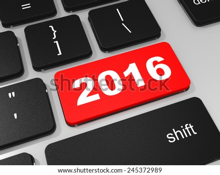 2016 new year key on keyboard. 3D illustration.