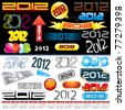 2012 New year labels, icons, tags, logos and stamps - set of various conceptual design elements - stock vector
