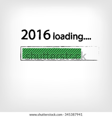 2016 new year loading. Progress bar design. illustration. Green.  For calendar, invitation, post cards, congratulation. business mail.  - stock photo