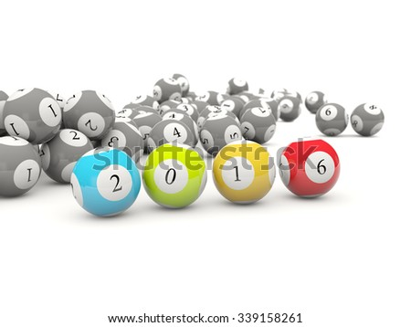 2016 New year lottery balls isolated on white - stock photo