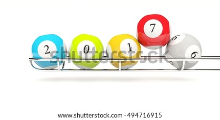 2017 New year lottery balls isolated on white. 3D illustration