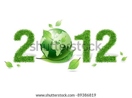 2012 New year made of grass material. consists of  world and green leaf - stock photo