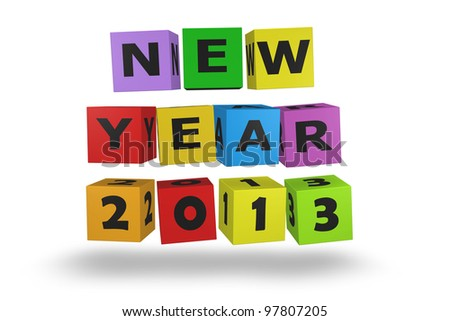 2013 new year modeled with tridimensional color blocks - stock photo
