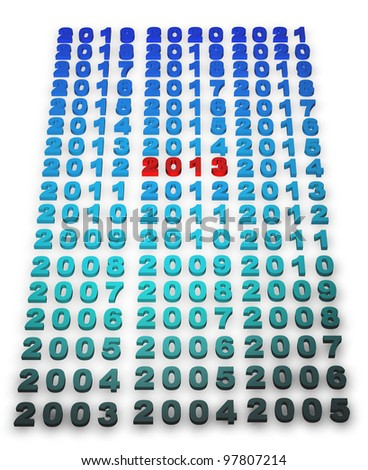 2013 new year modeled with tridimensional numbers