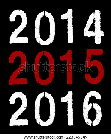 2015 new year on black - stock photo