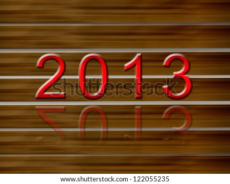 2013 New Year on wood texture - stock photo