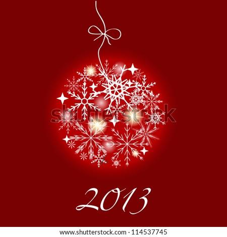 2013 New Year postcard. Raster version illustration - stock photo