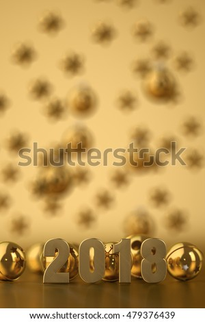 2018  New Year's background.3D illustration.