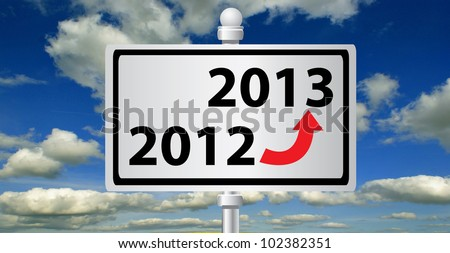 2012 - 2013 ,new year signpost on sky background - stock photo