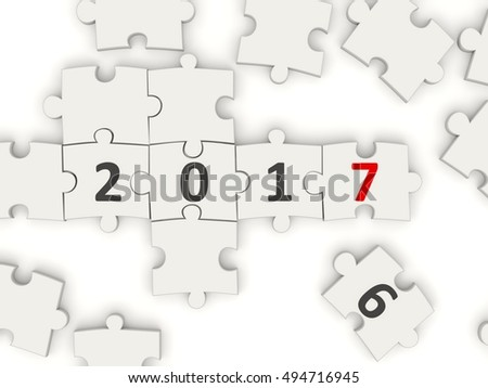 2017 New year symbol on puzzle. 3D illustration