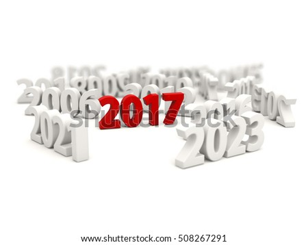 2017 New Year symbol with other years. 3D illustration