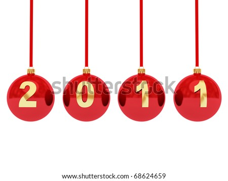2011 new year toys isolated on white - stock photo