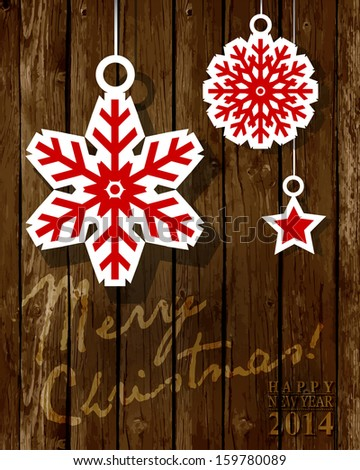 2014 New Year white paper origami  card or background, Christmas Wood Background.