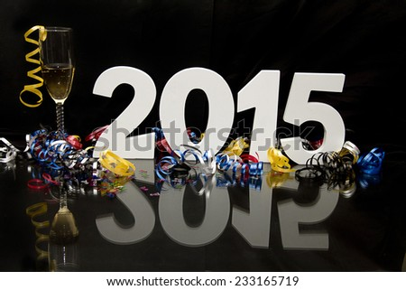 2015 new year with champagne  - stock photo