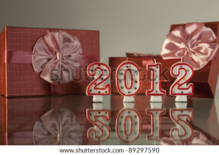 2012, new year with gift - stock photo