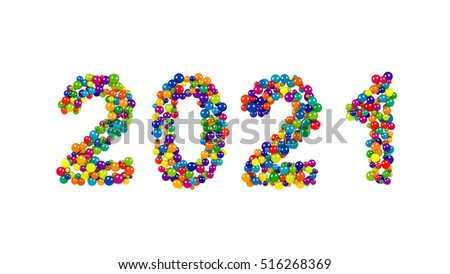 2021 New Years date in festive multicolored round balls isolated on white for celebrating the festive season, design template with copy space