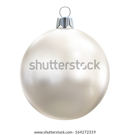 New Years Eve bauble blank. Christmas ball white. - stock photo