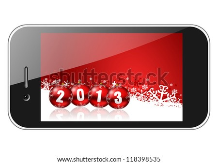 2013 new years illustration with mobile phone and christmas balls - stock photo