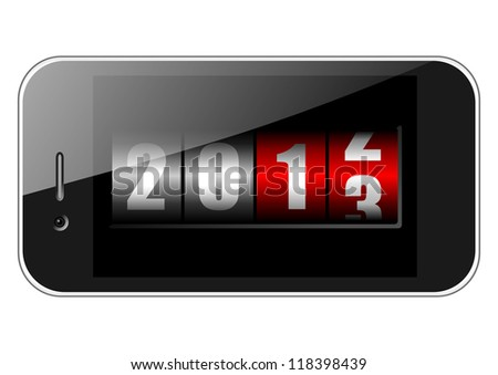 2013 new years illustration with mobile phone and counter - stock photo