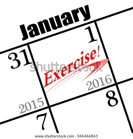 2016 new years resolution is to exercise. - stock photo