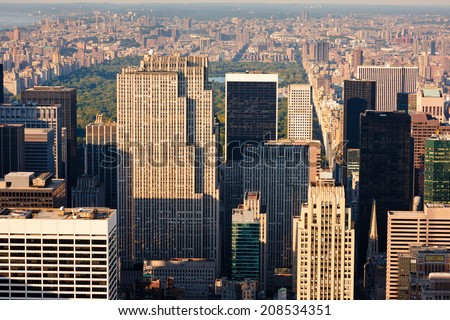 New York. Aerial view of Manhattan's skyscrapers around Central Park: Midtown Manhattan, Upper East Side, Upper West Side, Upper Manhattan and Harlem. Afternoon light for NY cityscape.