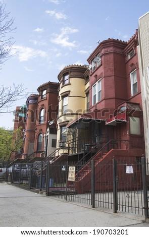 New York City brownstones in Bedford Stuyvesant neighborhood in Brooklyn - stock photo