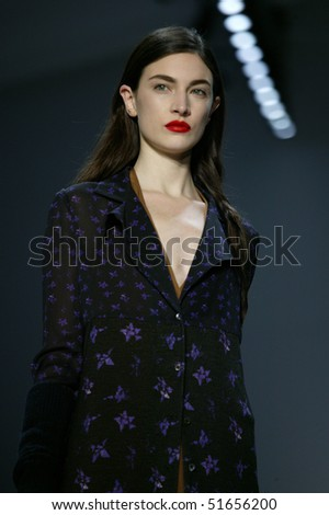 NEW YORK - FEBRUARY 11: Jacquelyn Jablonski is walking the runway at the Richard Chai Collection for Fall/Winter 2010 during Mercedes-Benz Fashion Week on February 11, 2010 in New York - stock photo