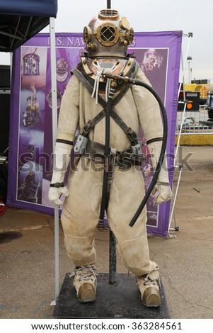 NEW YORK - MAY 21, 2015: US Navy atmospheric diving suit on display during Fleet Week 2015 in New York - stock photo