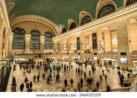 NEW YORK, NOVEMBER 24: commuters and tourists in the grand central station in november 24 2015 in New York. It is the largest train station in the world by number of platforms: 44, with 67 tracks - stock photo