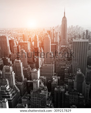 New York skyline black and white with added sun light effect - stock photo