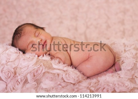 Newborn baby girl sleeping in a blanket of roses. - stock photo