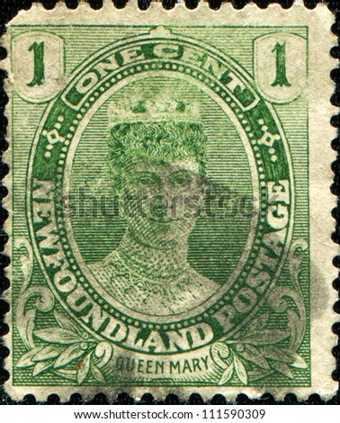 NEWFAUNDLAND - CIRCA 1911: A stamp printed in Newfoundland shows Queen Elizabeth, circa 1911 - stock photo
