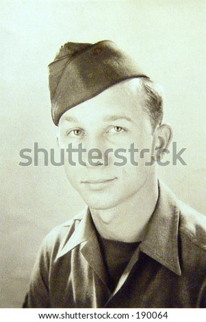 1943 Newly enlisted soldier. Vinage black and white - stock photo