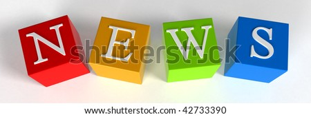 """NEWS"" phrase compiled with a cubes - 3d rendering - stock photo"