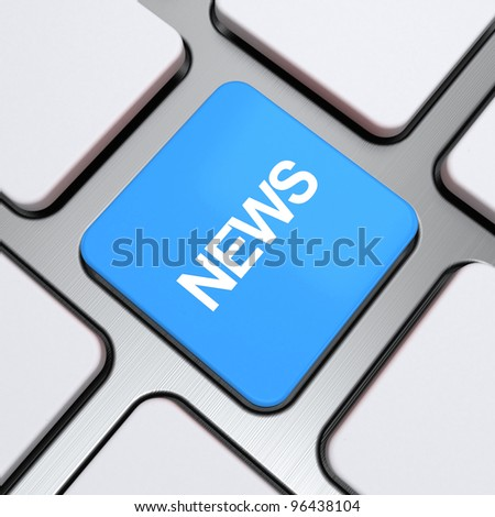 """""""News"""" text on a button keyboard, 3d render - stock photo"""